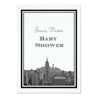 "NYC Skyline Top of the Rock ESB #3 DIY Baby Shower 5"" X 7"" Invitation Card"