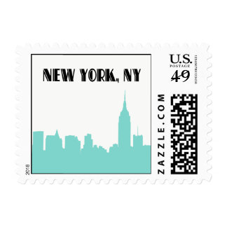NYC Skyline Turquoise Silhouette Empire St Bldg sm Postage Stamp