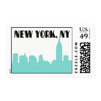 NYC Skyline Turquoise Silhouette Empire State Bldg Postage Stamp