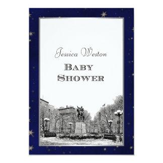 NYC Skyline Union Sq Etched Blu Star BG Baby Showr Card