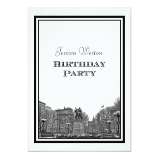 NYC Skyline Union Sq Etched DIY Birthday Party Card