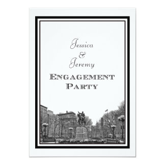 NYC Skyline Union Sq Etched DIY Engagement 5x7 Paper Invitation Card