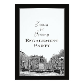 NYC Skyline Union Square Park Etched Engagement 5x7 Paper Invitation Card