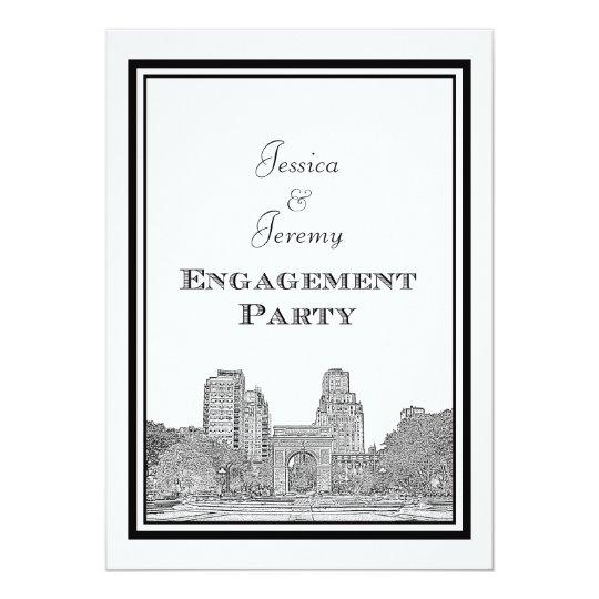 NYC Skyline Washington Sq Etched DIY Engagement Card