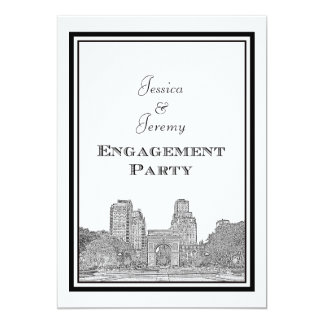 NYC Skyline Washington Sq Etched DIY Engagement 5x7 Paper Invitation Card