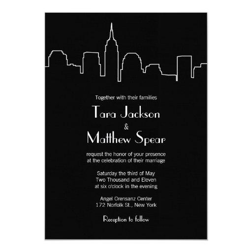 "NYC Skyline Wedding Invitation 5"" X 7"" Invitation Card"