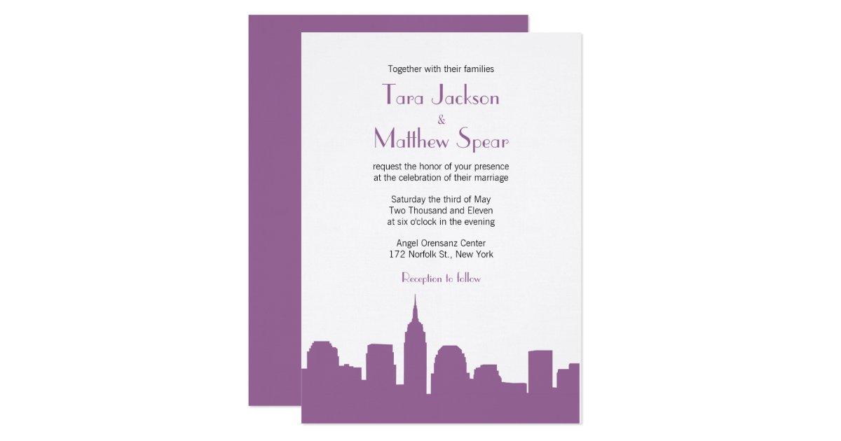 Nyc skyline wedding invitation purple zazzle for Wedding invitation companies nyc