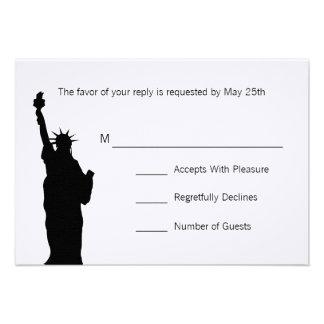 NYC Skyline Wedding RSVP Cards Custom Invitations