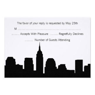 NYC Skyline Wedding RSVP Cards Invitation