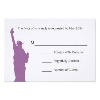 NYC Skyline Wedding RSVP Cards Personalized Invite