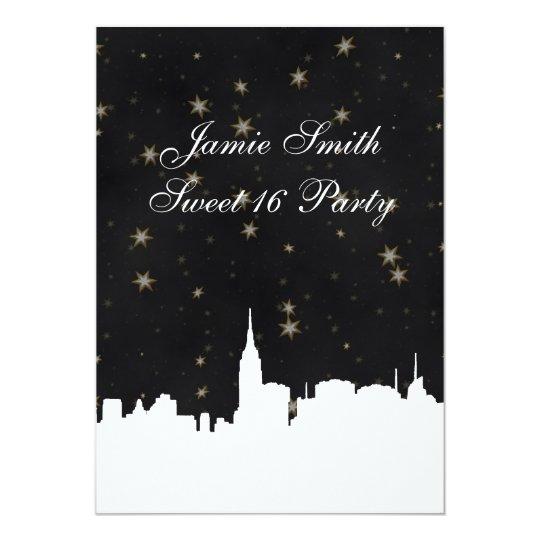 NYC Skyline Wht Silhouette Bk Gold Star Sweet 16 V Card
