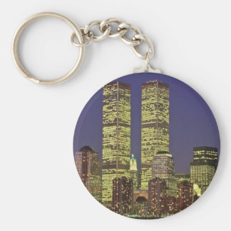 NYC Skyline With World Trade Center At Night Basic Round Button Keychain