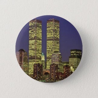 NYC Skyline With World Trade Center At Night Button
