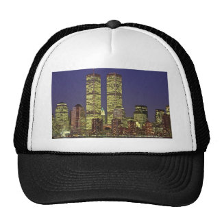 NYC Skyline With World Trade Center At Night Mesh Hat