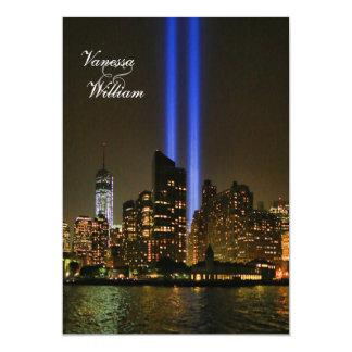 NYC Skyline: WTC 9/11 Tribute In Light #1 Wedding Cards
