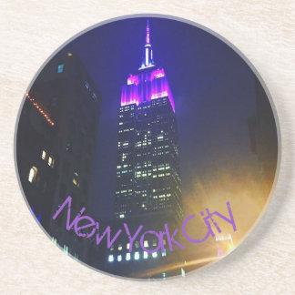 NYC Skyscraper Purple Empire State Building Night Drink Coaster