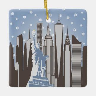 NYC Snowflakes Square Ornament