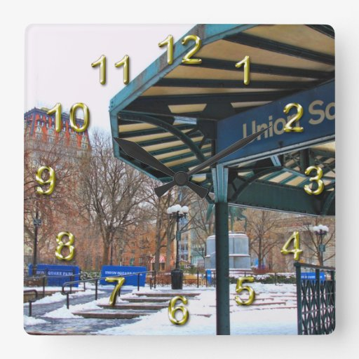 NYC Snowy Union Square in Winter Square Wall Clocks
