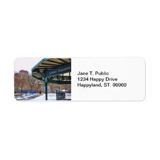 NYC Snowy Union Square in Winter Custom Return Address Labels