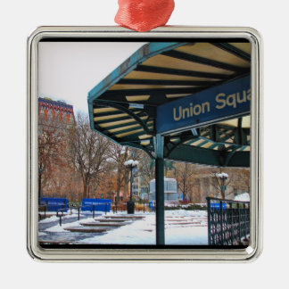 NYC Snowy Union Square in Winter Christmas Ornament