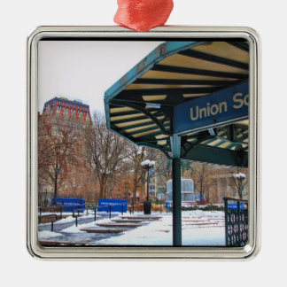 NYC Snowy Union Square in Winter Christmas Tree Ornament