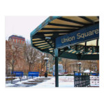 NYC Snowy Union Square in Winter Postcard