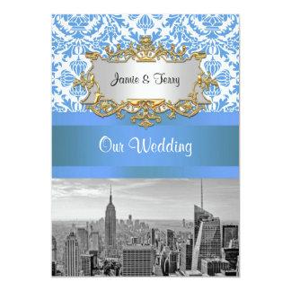NYC SNYC Skyline BW D4 Damask Wedding Invitation V