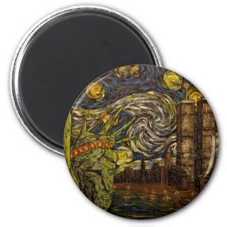 NYC Starry Night: Twin Towers (The True Towers) 2 Inch Round Magnet