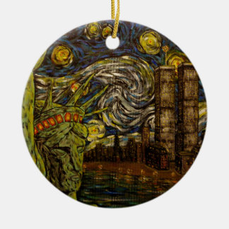 NYC Starry Night.: Twin Towers (The True Towers) Ceramic Ornament
