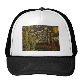 NYC Starry Night.: Twin Towers (The True Towers) Trucker Hat