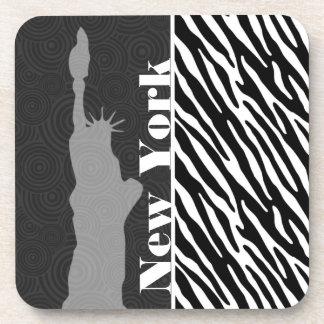 NYC; statue of liberty,Black & White Zebra Stripes Beverage Coaster