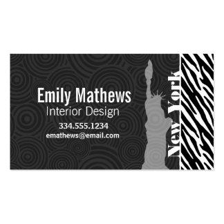 NYC; statue of liberty,Black & White Zebra Stripes Business Card