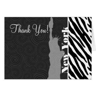 NYC; statue of liberty,Black & White Zebra Stripes Card