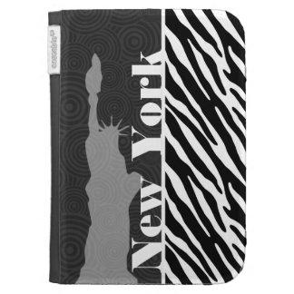 NYC; statue of liberty,Black & White Zebra Stripes Kindle Case