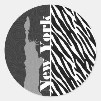 NYC; statue of liberty,Black & White Zebra Stripes Classic Round Sticker