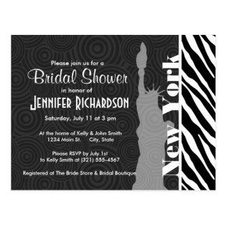 NYC; statue of liberty,Black & White Zebra Stripes Postcard