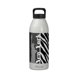 NYC; statue of liberty,Black & White Zebra Stripes Drinking Bottle