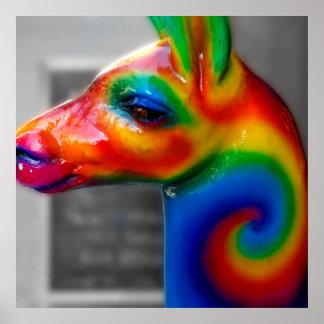 NYC Street Photography - Rainbow Animal Statue Poster