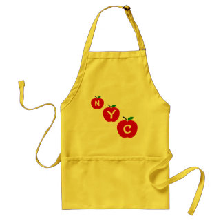 NYC Three Red Apples With Stem And Leaf Apron