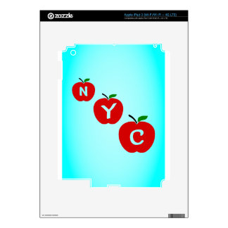 NYC Three Red Apples With Stem And Leaf Skins For iPad 3