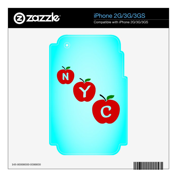 NYC Three Red Apples With Stem And Leaf Skins For The iPhone 3GS