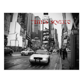 NYC Times Square Taxi Postcard in Black and White