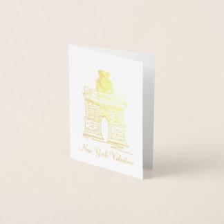 NYC Valentine Washington Square Arch Teddy Bear Foil Card