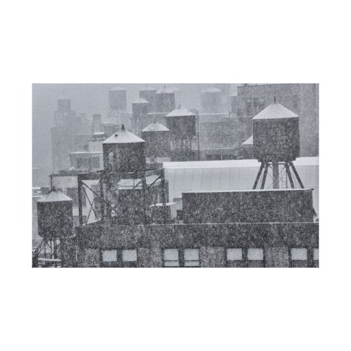 NYC Water Towers During Freak October Snow Storm Canvas Print