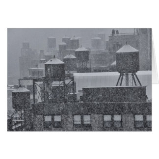 NYC Water Towers During Freak October Snow Storm Greeting Cards