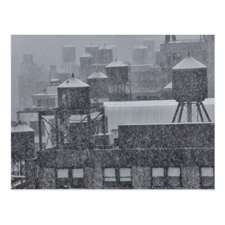 NYC Water Towers During Freak October Snow Storm Postcard