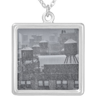 NYC Water Towers During Freak October Snow Storm Silver Plated Necklace