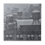 NYC Water Towers During Freak October Snow Storm Tiles
