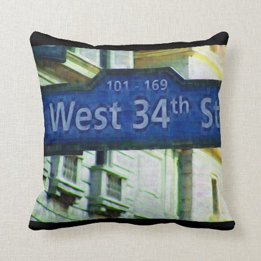 NYC West 34th Street Sign Pillow
