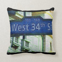 NYC West 34th Street Sign Throw Pillow